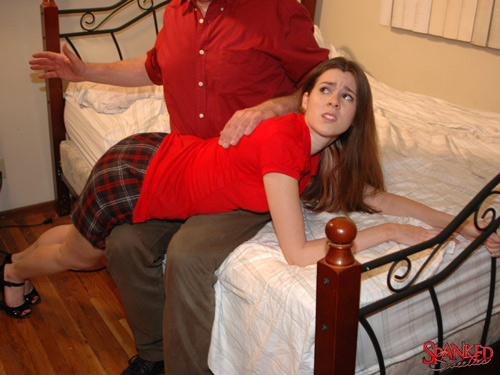 Isobel Wren gets a good OTK spanking from Dad