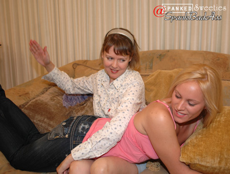 Clare Fonda spanks naughty Kenzie Ashley for the first time in her Blue Jeans
