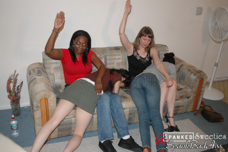 Two naughty girls, Daffodil and Kayla, get spanked by Clare Fonda and Lana