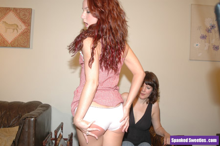 Anabel gets a hard nude OTK spanking from Clare Fonda