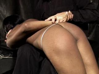 Very cute ebony babe is spanked in Bondage Torment 9