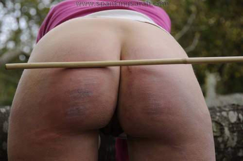 Sarah has a lovely bottom after her caning