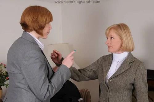 Sarah catches Suzie spanking her maid, Katie