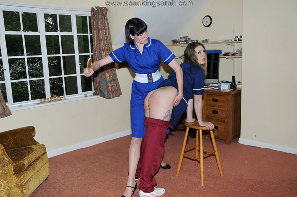 Molly spanks Aleesha Fox's big bare bottom to make her admit the theft