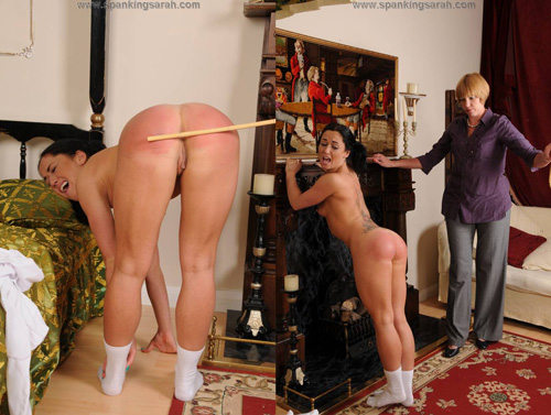 Kiki sticks her pert, round bottom out for Sarah's cane