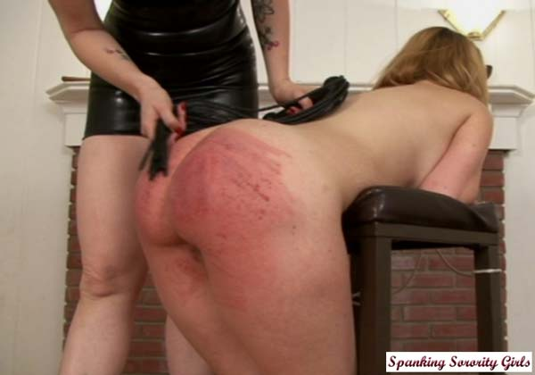 After the paddle and the yardstick Ashley is whipped over a stool