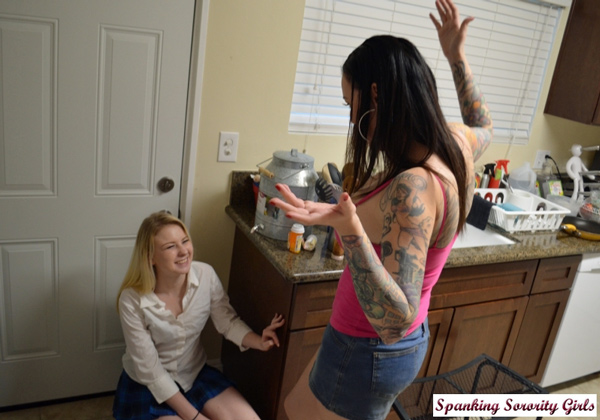 Sophie Sativa gets caught spying on rival sorority girl, Emily Parker
