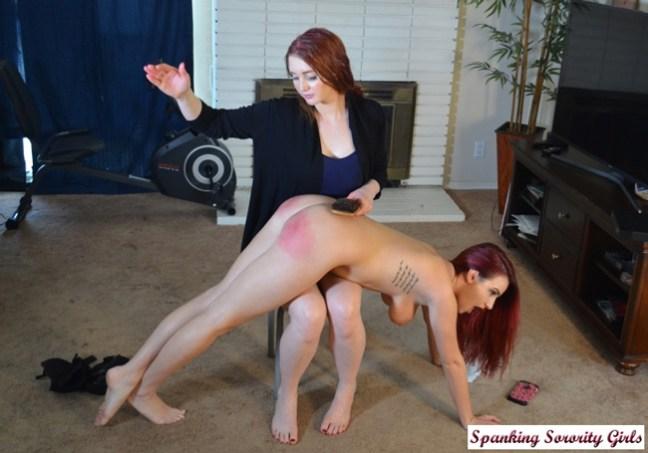 Veronica Ricci spanking the tattletale, Lola Anderson, nude OTK