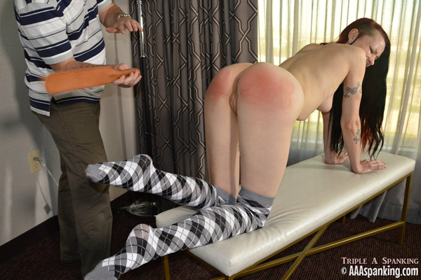 Kajira Bound gets strapped nude wearing only socks
