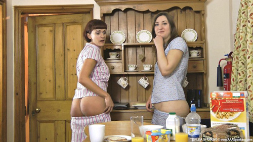 British ladies Pandora and Leia-Ann Woods in Red Breakfast