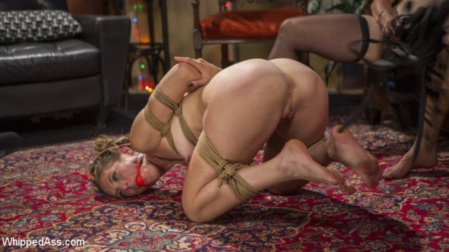 Mona Wales gets tied up naked and dominated in Dyke Bar Underground