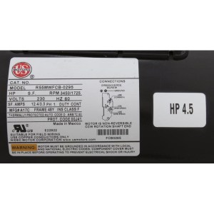 Waterway pump motor BN62 Century by AO Smith, 718482104, 5XCR39UN6051X, 5KCR39UN2995X