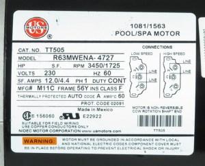 MTRAOS187563 TT505 Spa Pump Motor 56Fr 2 spd 12A 230v US