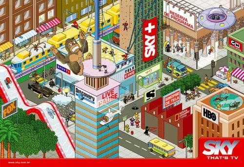 Pixelated Sky Ad - King Kong