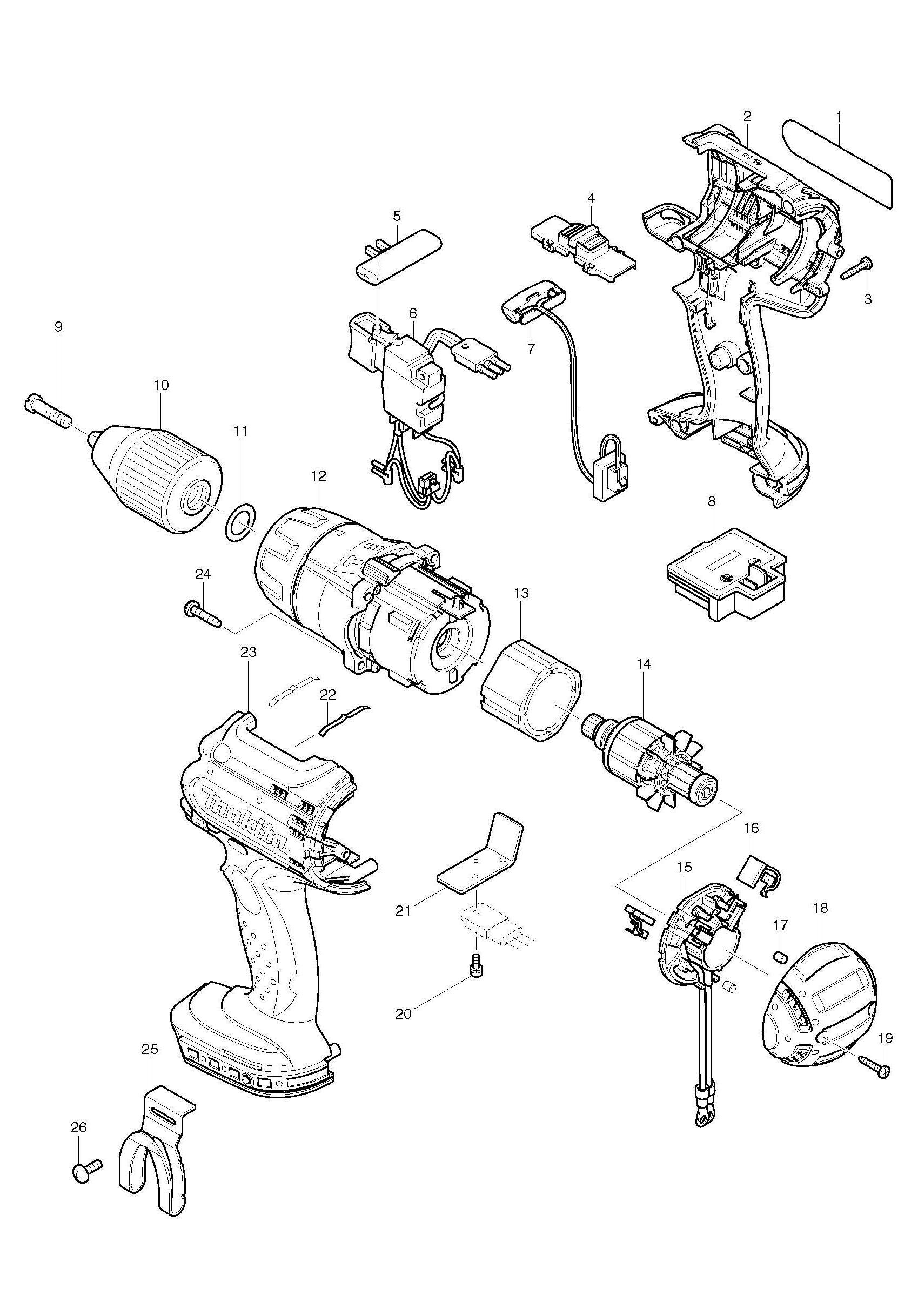 Makita Bhp451 Cordless 3 Speed Combi Drill 18v Spare Parts