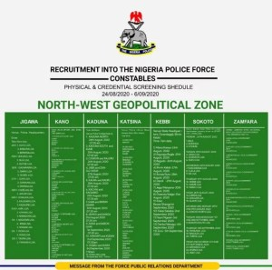 NPF shortlist physical and credential screening date for North West
