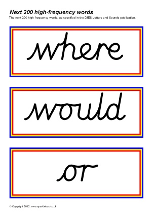 Cursive Script High Frequency Sight Words Printables