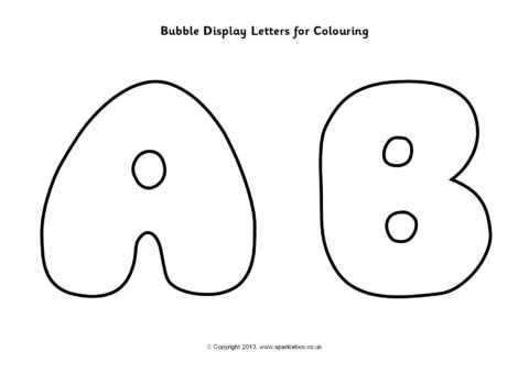 Bubble Display Letters For Colouring Sb9745 Sparklebox