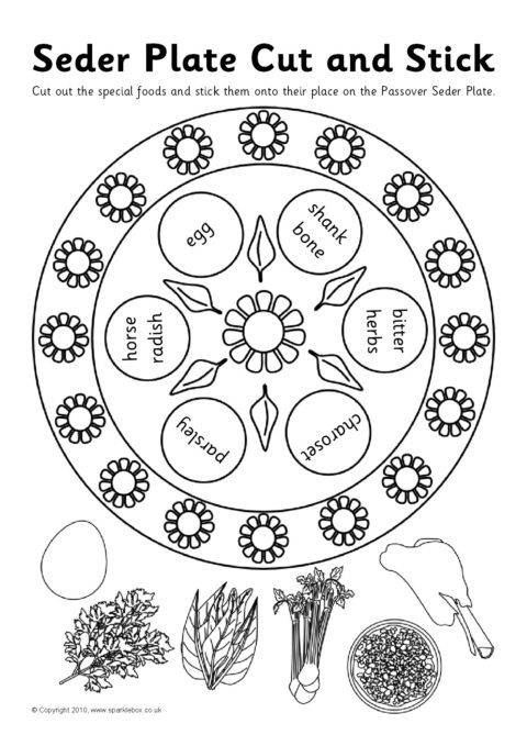 Jewish Seder Plate Cut And Stick Activity Sb3278