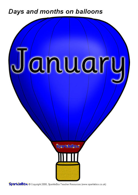 Days And Months On Balloons