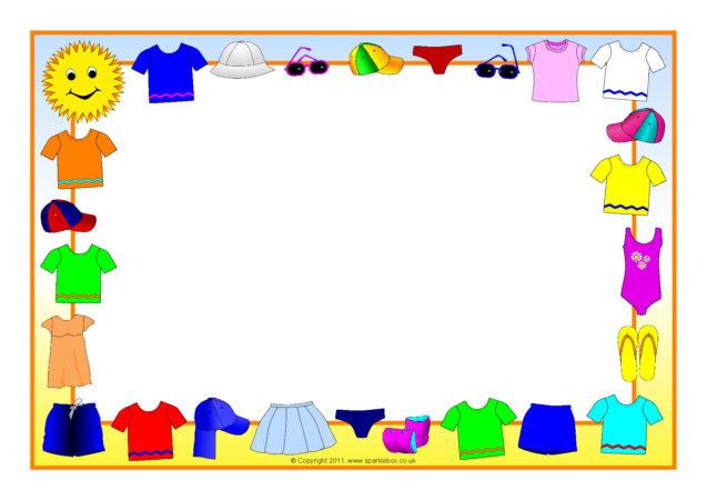 Summer Clothes A4 Page Borders SB4815 SparkleBox