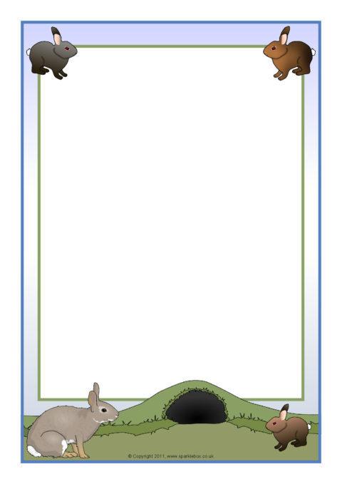 Rabbit Themed A4 Page Borders Sb5635 Sparklebox