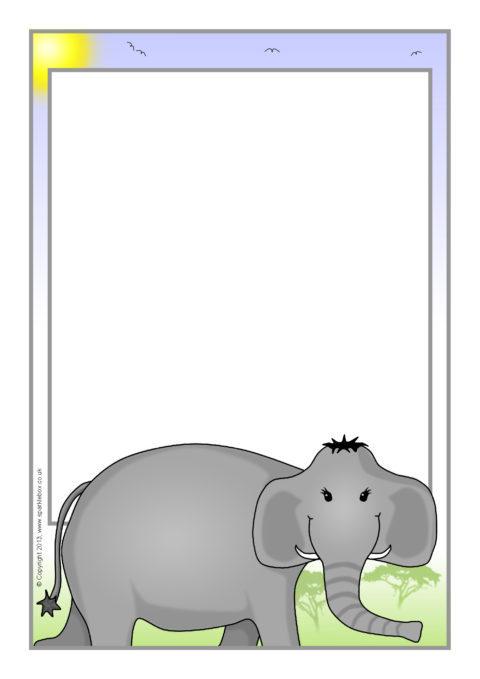 Elephant A4 Page Borders SB9676 SparkleBox