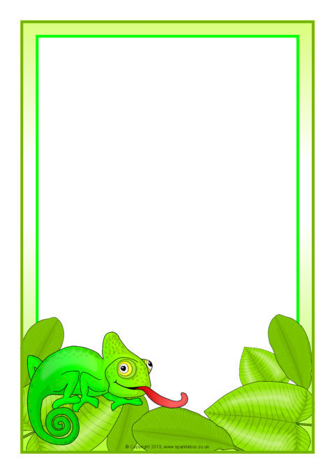 Chameleon A4 Page Borders SB9697 SparkleBox