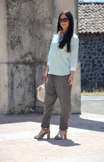 DSC_0175 Pantaloni alla turca e camicia color menta Sumissura