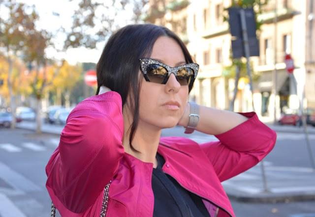 DSC_0078 Cappotto fucsia Burberry, borsa Michael Kors, occhiali da sole Miu Miu