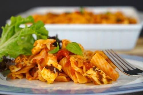 Halloumi, Tomato and Basil Gluten Free Pasta Bake