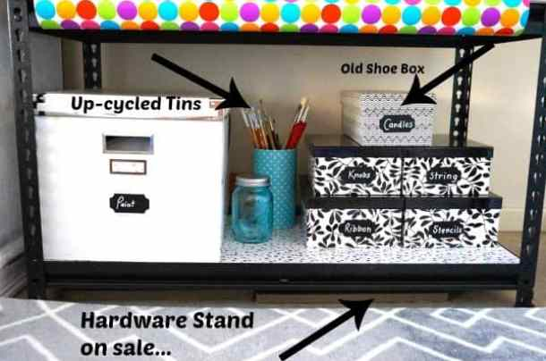 easy and thrifty tips for DIY Organised Craft Storage