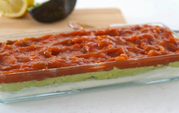 Salsa layer of the Easy Gluten Free 5 Layer Dip!