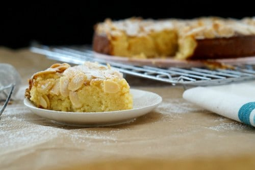 A perfect slice of Gluten Free Lemon, Ricotta and Almond Cake
