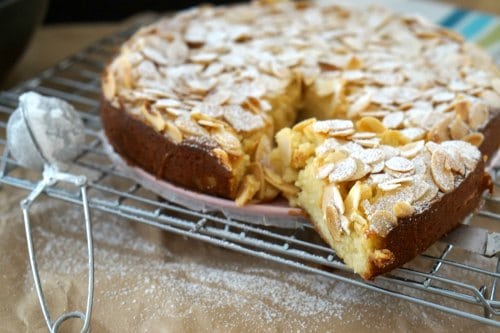 Taking a slice of Gluten Free Lemon, Ricotta and Almond Cake