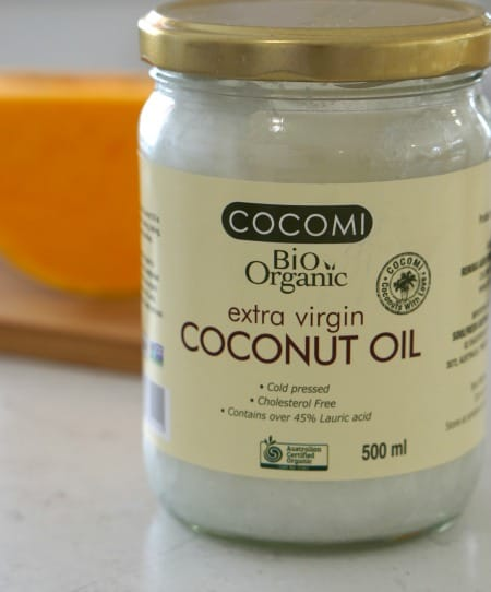 Coconut oil for Gluten Free Australian Pumpkin and Chocolate Chip Muffins (GF)