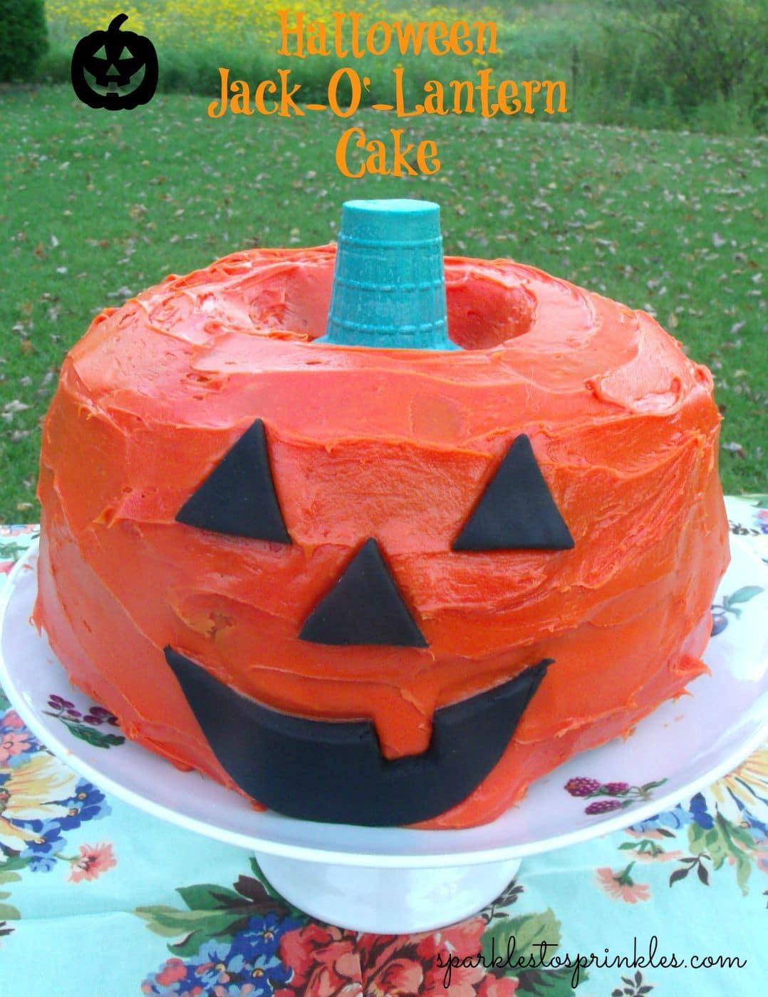 halloween jack-o'-lantern cake - sparkles to sprinkles