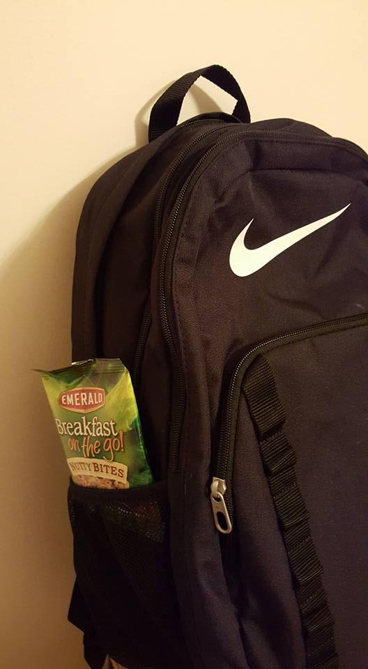 emerald in bookbag