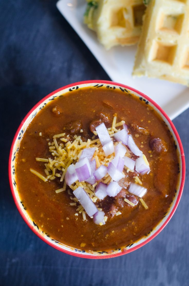 Instant Pot Stew Beef Chili with Cornbread Waffles