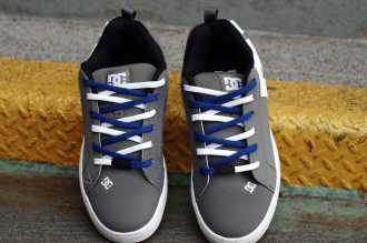 Shoe-Easy-Tie-Dual-Colored-Shoelaces-White-Blue-Criss-Cross-Lacing-How-to-Lace-Tie-Your-Shoes-Method-DC-Mens-Court-Graffik-Skate High