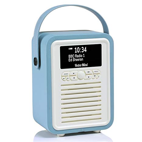 Retro Mini by VQ   Radio & Bluetooth Speaker with AM/FM & HD Radio, Dual Alarm Clock Mains or Battery – Premium PU Leather Case Blue