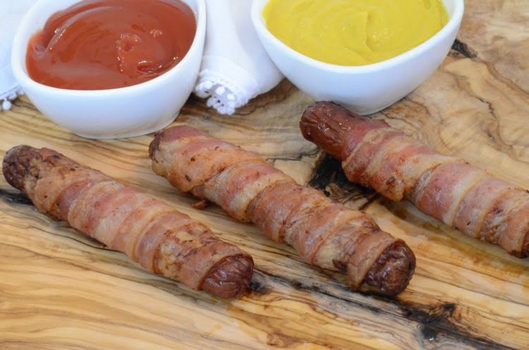 Ninja Foodi & Air Fryer Bacon Wrapped Hot Dogs