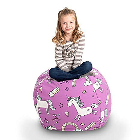 """Creative QT Stuffed Animal Storage Bean Bag Chair - Stuff 'n Sit Organization for Kids Toy Storage - Available in a Variety of Sizes and Colors (33"""", Unicorn)"""