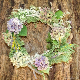 A Simple Yard Wreath: Twigs, Herbs, & Blooms