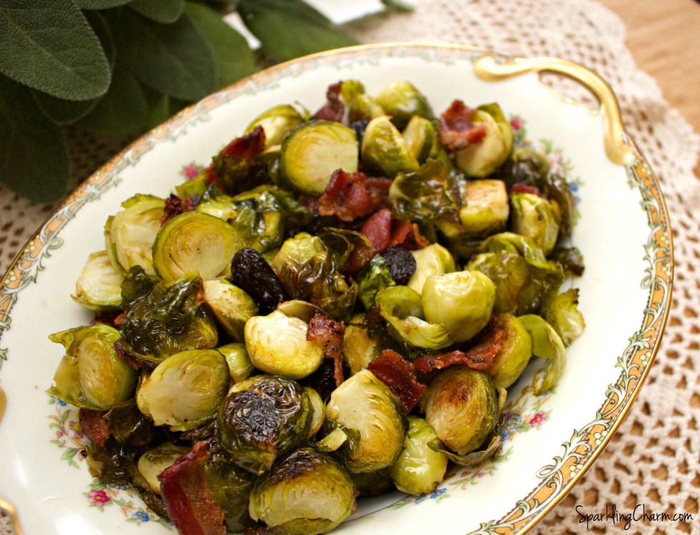 Oven Roasted Brussel Sprouts, Peppered Bacon, and Dried Cherries