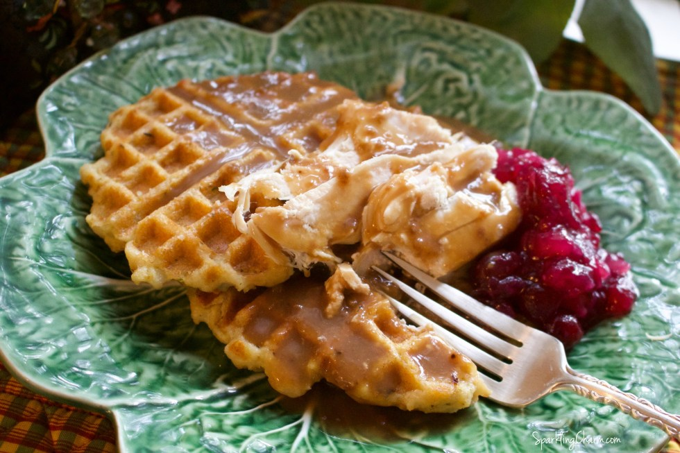 Holiday Leftovers: Cornbread Stuffing Waffles Topped with Turkey, Gravy, & A Side of Cranberry Jezebel Sauce