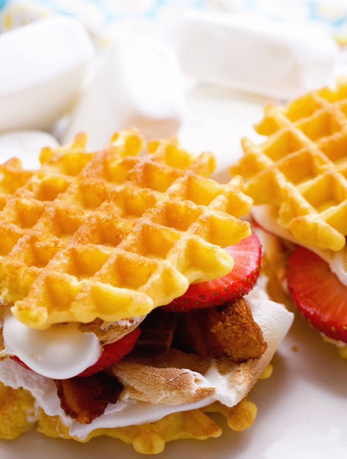 Belgium Waffle Strawberry & Bacon S'mores Sandwich