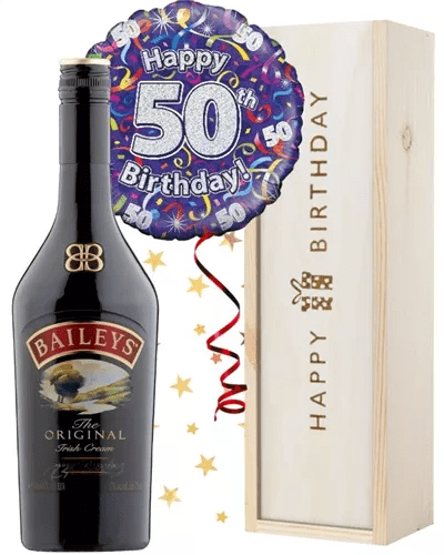 50th Birthday Baileys And Balloon Gift Next Day Delivery Uk Sparkling Direct