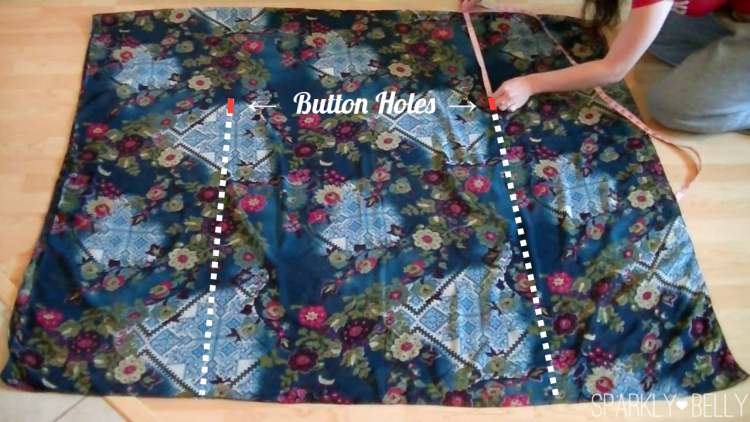 Stitch Lines and Button Holes for DIY Kaftan Dress