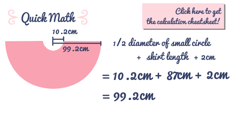 Measurement calculation for circle skirt pattern
